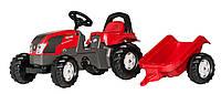 Трактор педальный Kid Valtra с прицепом Rolly Toys красный