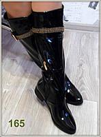 Женские стильные высокие сапоги черного цвета 36 38р
