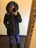 """Пальто зимнее """"Аляска"""" с водоупорным покрытием, с мехом на капюшоне-песец"""
