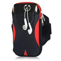 Сумка на руку для телефона для бега и спорта Black Red
