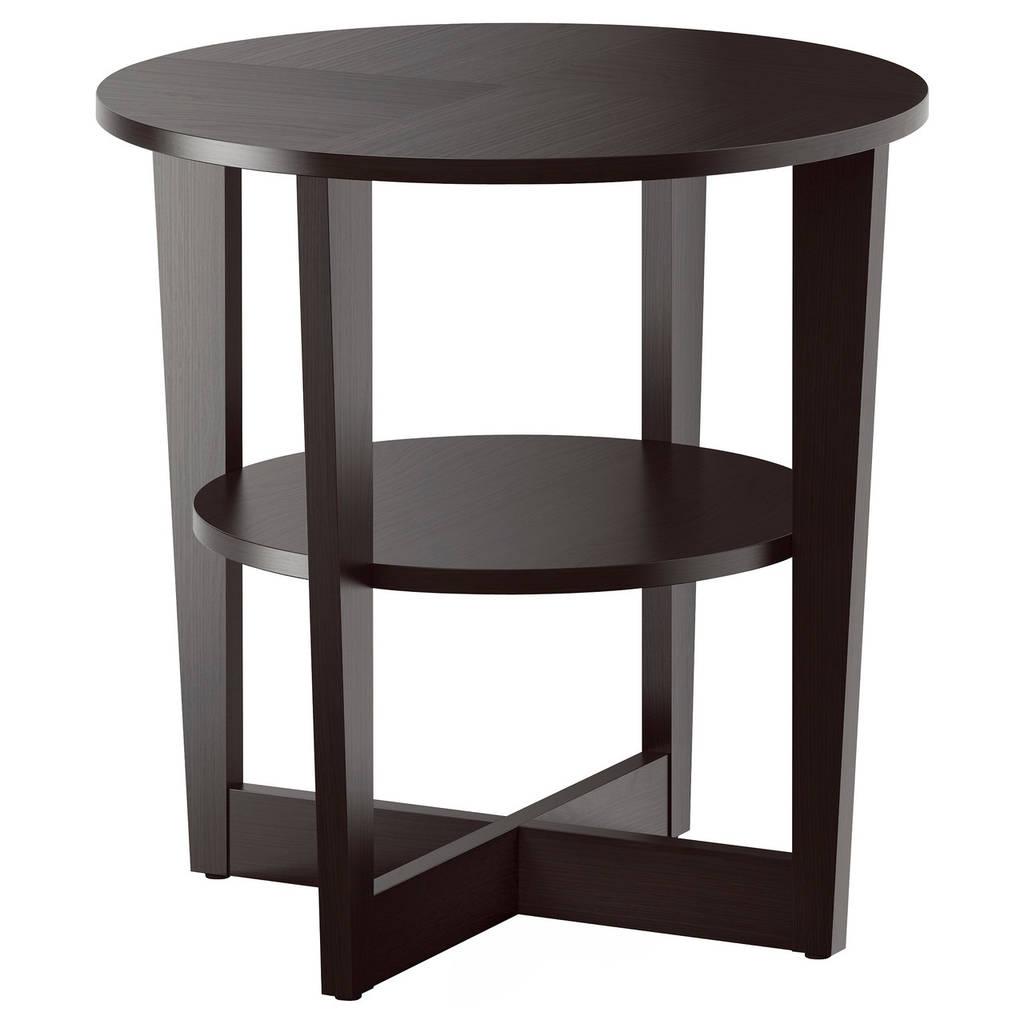 журнальный столик Ikea Vejmon придиванный с полкой черно коричневый