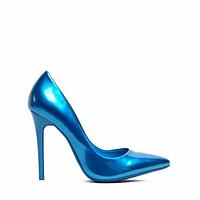 Туфли на шпильке голубые лаковые блестящие 35-40