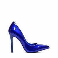 Туфли на шпильке ярко синие лаковые блестящие 35-40