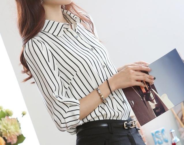 Блузка рубашка женская белая в полоску
