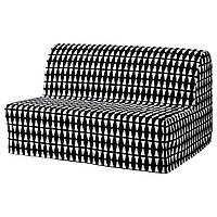 LYCKSELE Чехол на 2-местный диван-кровать, Эббарп черный/белый