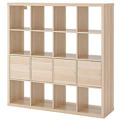 KALLAX Книжный шкаф с 4 картриджами, дуб бело bejcowany 491.974.20