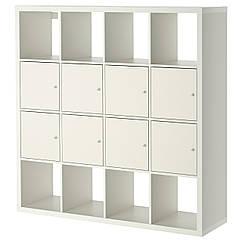 KALLAX Стеллаж с 8 вставками, белый 690.174.75