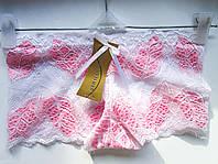Трусы женские оптом, кружевные шортики, узор листик, белый с розовым