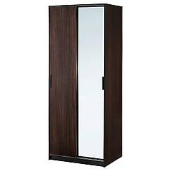 TRYSIL Шкаф, темно-коричневый, зеркало