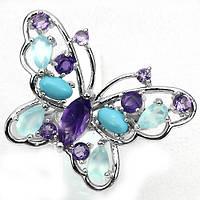Кольцо-бабочка с натуральными Голубыми ТОПАЗАМИ, АМЕТИСТАМИ и ХАЛЦЕДОНОМ