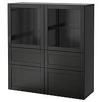 BESTÅ Комбинация д/хранения+стекл дверц, Hanviken, Sindvik черно-коричневый прозрачный стеклянный, 120x40x128 см