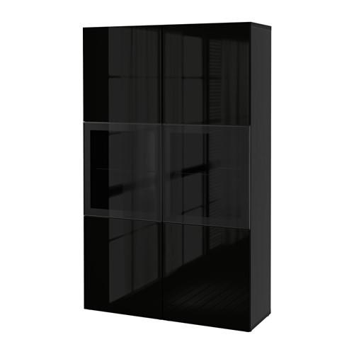 BESTÅ Книжная полка/стеклянные двери, czarnybrąz, Selsviken блеск/черный прозрачное стекло 590.594.61