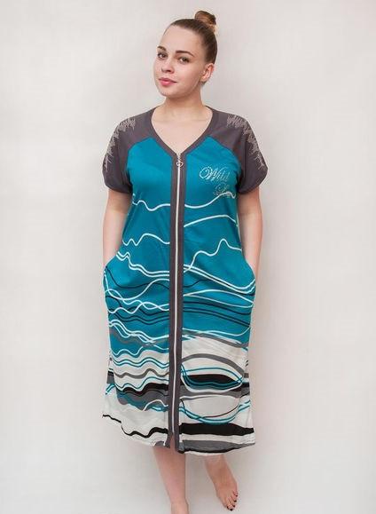 Жіночий літній халат збільшеного розміру Хвиля
