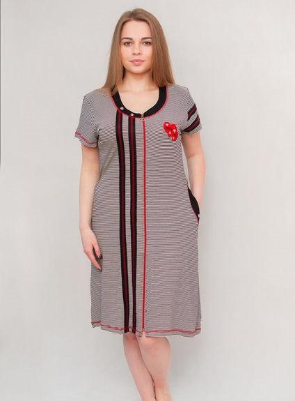 Женский летний халат увеличенного размера красно-черная полоскка