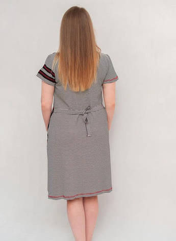 Женский летний халат увеличенного размера красно-черная полоскка, фото 2