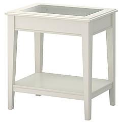 LIATORP Придиванный столик, белый, стекло 401.730.65