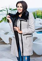 Серое  кашемировое пальто с кожаным воротником+ мех. Арт-9256/57