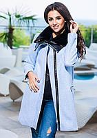 Голубое  кашемировое пальто с кожаным воротником+ мех. Арт-9256/57