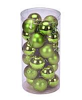 Набор ёлочных шаров (зеленый) 24 шт (8 см)
