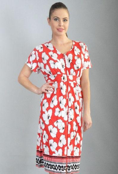Річний халат жіночий збільшеного розміру Маки