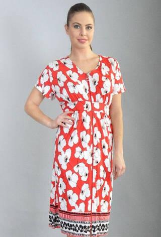 Річний халат жіночий збільшеного розміру Маки, фото 2