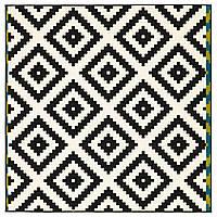 Ковер икеа LAPPLJUNG RUTA, короткий ворс, белый, черный, IKEA, 402.279.02