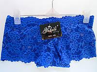 Трусики женские оптом, шортики из синего кружева с узором цветок