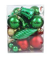 Набор елочных игрушек (зеленый и красный) (36шт), 5см, 6см, 13см, 3 вида