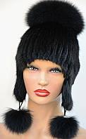 """Женская меховая шапка из ондатры """"Бубон,ушки"""", фото 1"""