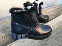Женские кожаные ботинки на овчине р.36-41