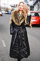 Женское зимнее длинное пальто с мехом