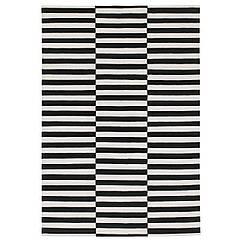 STOCKHOLM Ковер, безворсовый, полоска ручная работа, белый с оттенком в полоску черный/белый с оттенком 901.032.54