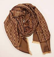 Кашемировый палантин Christian Dior коричнево-золотистый двусторонний