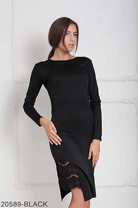 Стильне чорне вечірнє плаття з гіпюром Biks (XS-XXL)