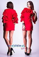 Женское Модное платье мини на рукавах рюши