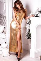 Платье вечернее.длинное с разрезом, ткань паетки на трикотаже-, 2 расцветки ,фото реал аф №0555