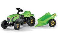 Трактор педальный с прицепом Kid Rolly Toys  зеленый