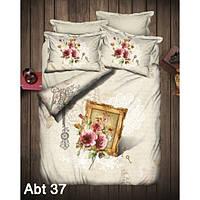 """Комплект постельного белья ALTINBASAK Сатин 3D """"abt 37"""" Евро, фото 1"""