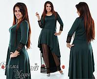 Тёмно-зелёное вечернее нарядное платье. Р-ры от 42 до 54. 5 цветов