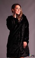 Женская шуба искуственный мех с капюшоном и эко поясом.