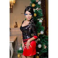 Праздничный вечерний костюм кофта в паетках и атласная юбка