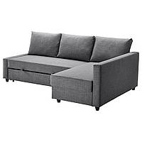 FRIHETEN Sofa narożna rozkładana, Skiftebo ciemnoszary 392.167.54