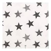 Шторы Лен 400246 v 2 звезды, серый, черный, светлый фон