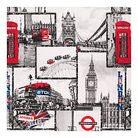 Шторы лен 400239 v 1  город, Лондон, черно-красный