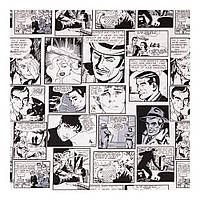 Шторы Лен 400238 v 1 комиксы, серый, черный, светлый фон