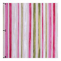 Портьерная ткань Лен 400236 v 1 полоса малиновая, оливковая, белая, льняная
