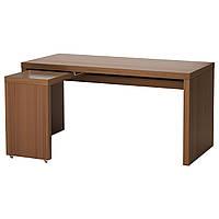 MALM Письменный стол с выдвижной панелью, коричневая морилка ясеневый шпон