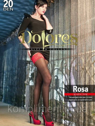 Фантазийные чулки с красным кружевом DOLORES ROSA 20 den