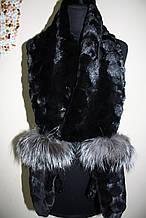 Хутряні шуби рукавиці з обробкою з чорнобурки з норковим шарфом sculptured mink fur mittens with fur scarf