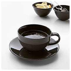 VARDAGEN Чашка для чая и блюдце, темно-серый 302.892.88
